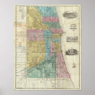 Mapa de la guía de Chicago Poster