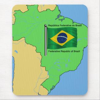 Mapa de la hidrología y bandera del Brasil Tapete De Raton
