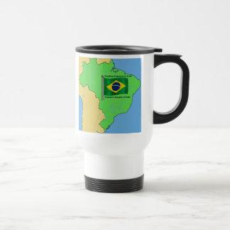 Mapa de la hidrología y bandera del Brasil Taza De Viaje