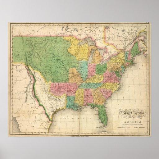 Mapa de la historia de los Estados Unidos de Améri Impresiones