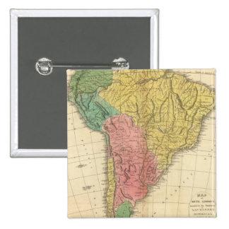 Mapa de la historia de Suramérica Pin Cuadrada 5 Cm