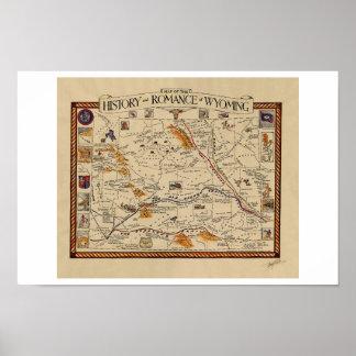 Mapa de la historia y del romance de Wyoming Posters