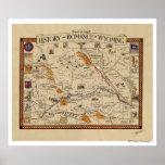 Mapa de la historia y del romance de Wyoming Impresiones
