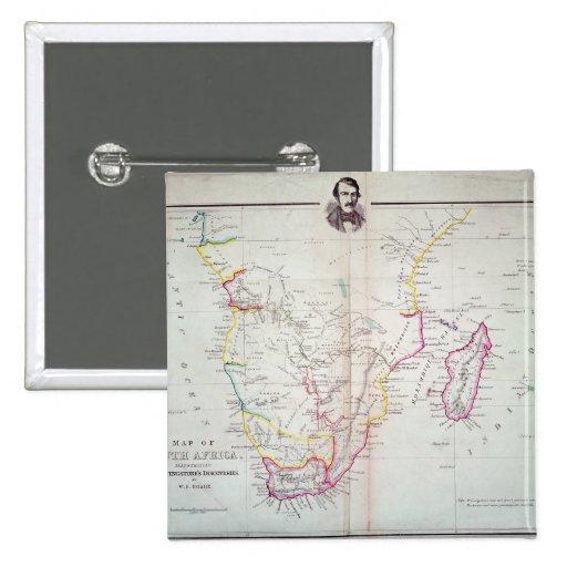 Mapa de la ilustración de Suráfrica Pin Cuadrado