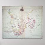Mapa de la ilustración de Suráfrica Póster
