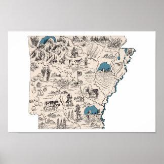 Mapa de la imagen del vintage de Arkansas Póster