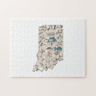 Mapa de la imagen del vintage de Indiana Puzzle