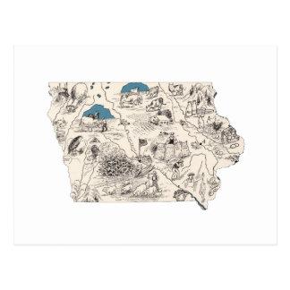 Mapa de la imagen del vintage de Iowa Tarjetas Postales