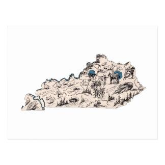 Mapa de la imagen del vintage de Kentucky Tarjeta Postal