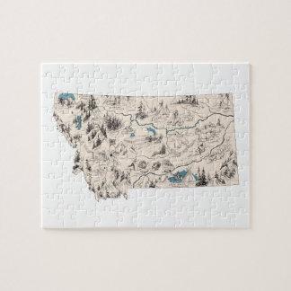 Mapa de la imagen del vintage de Montana Puzzle