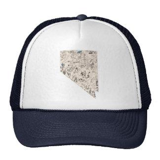 Mapa de la imagen del vintage de Nevada Gorros
