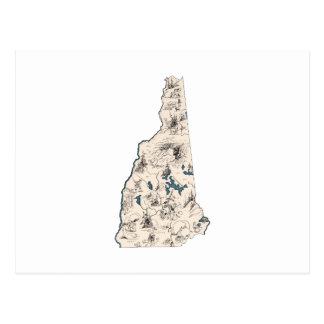 Mapa de la imagen del vintage de New Hampshire Tarjetas Postales