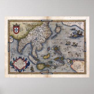 Mapa de la India 1570 y de China Póster