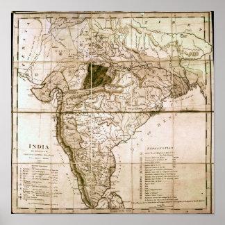 Mapa de la India, 1803 Póster