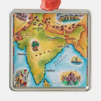 Mapa de la India Adorno Cuadrado Plateado