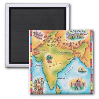 Mapa de la India Imán Cuadrado