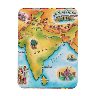 Mapa de la India Imán Rectangular