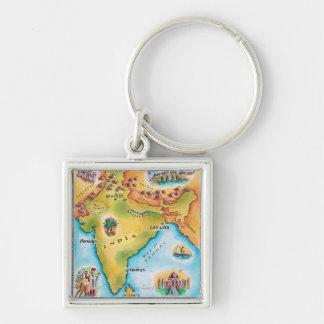 Mapa de la India Llavero Cuadrado Plateado
