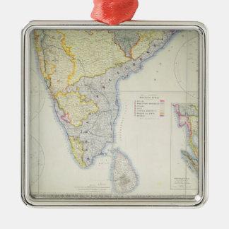 Mapa de la India meridional británica, 1872 Adorno Navideño Cuadrado De Metal