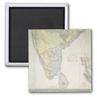 Mapa de la India meridional británica, 1872 Imán Cuadrado