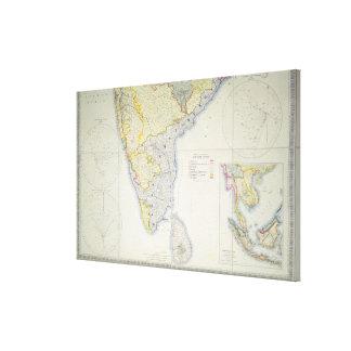 Mapa de la India meridional británica, 1872 Impresiones En Lienzo Estiradas