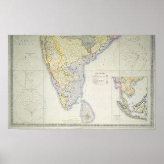 Mapa de la India meridional británica, 1872 Poster