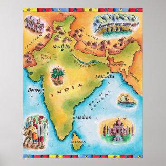 Mapa de la India Impresiones