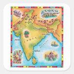 Mapa de la India Calcomanías Cuadradass Personalizadas