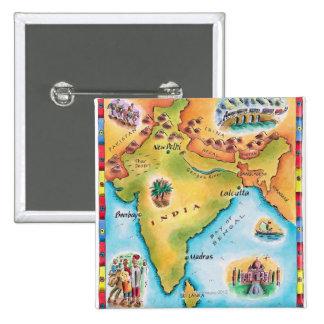 Mapa de la India Pin Cuadrada 5 Cm