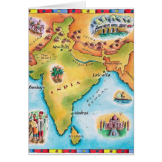 Mapa de la India Tarjeta De Felicitación