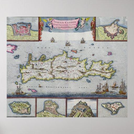Mapa de la isla de Candia Posters