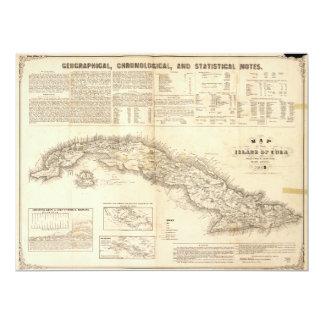 """Mapa de la isla de Cuba (1855) Invitación 6.5"""" X 8.75"""""""