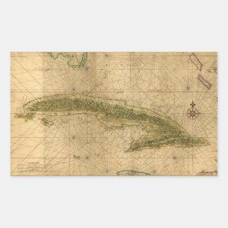 Mapa de la isla de Cuba de Joan Vinckeboons 1639 Pegatina Rectangular