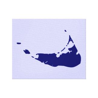 Mapa de la isla de Nantucket Impresiones En Lona