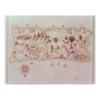 Mapa de la isla de Puerto Rico 1599 Tarjetas Postales