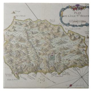 Mapa de la isla de St. Helena Azulejos Cerámicos