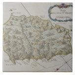 Mapa de la isla de St. Helena Azulejo Cuadrado Grande