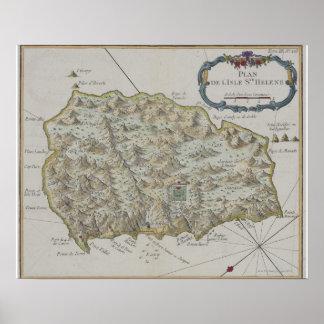 Mapa de la isla de St. Helena Poster