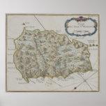 Mapa de la isla de St. Helena Posters
