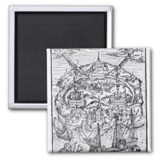 Mapa de la isla de Utopía, frontispiece del libro Imán Cuadrado