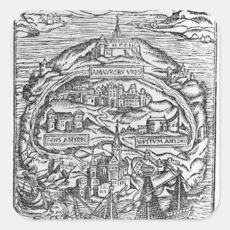 Mapa de la isla de Utopía, frontispiece del libro Colcomanias Cuadradass