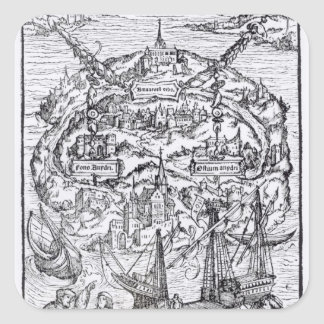 Mapa de la isla de Utopía, frontispiece del libro Colcomania Cuadrada