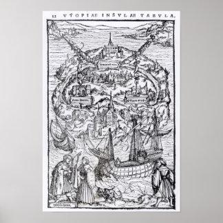 Mapa de la isla de Utopía, frontispiece del libro Póster