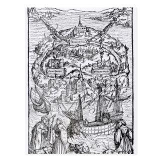 Mapa de la isla de Utopía, frontispiece del libro Tarjetas Postales