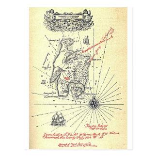 Mapa de la isla del tesoro de Robert Louis Tarjeta Postal
