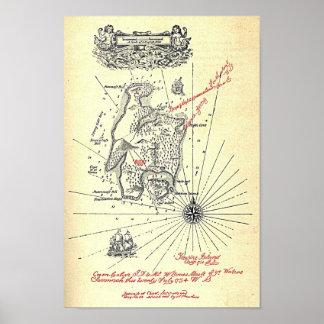 Mapa de la isla del tesoro poster