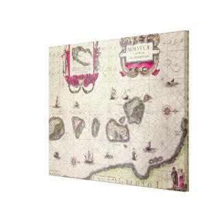 Mapa de la isla moluqueña, grabado lienzo envuelto para galerías