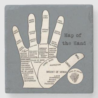 mapa de la lectura de la palma de la mano posavasos de piedra
