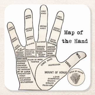 mapa de la lectura de la palma de la mano posavasos personalizable cuadrado