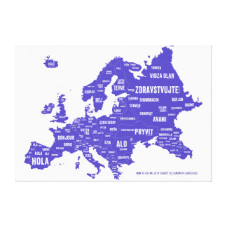 Mapa de la lengua de Europa Impresión En Lienzo